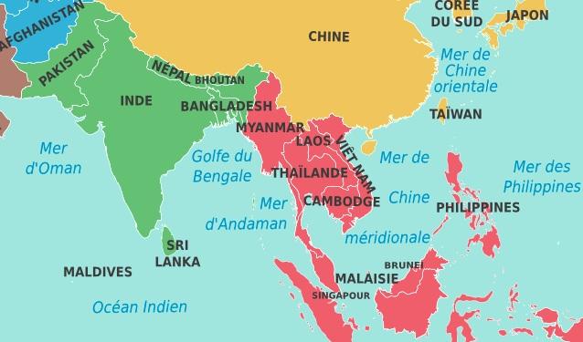 Carte Asie Mer.Meteo Asie